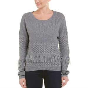 BB DAKOTA | Gray Fringe Sweater Pullover Chunky S